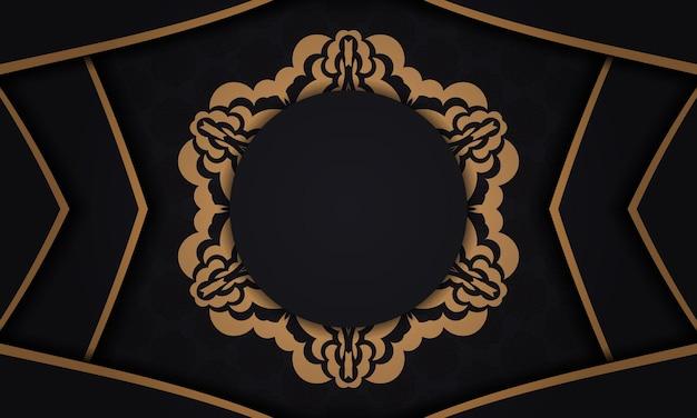 Fundo preto com ornamentos vintage de luxo e lugar para o seu texto e logotipo. design de cartão postal pronto para impressão