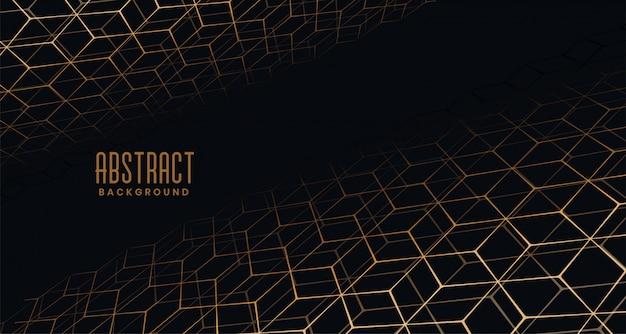 Fundo preto com padrão de hexágono de perspectiva dourada