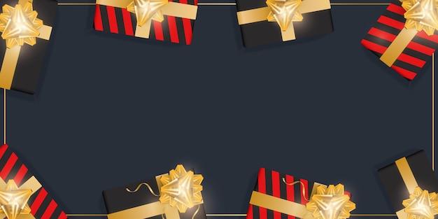Fundo preto com presentes e lugar para texto. caixas de presente realistas com fitas de ouro e arco. ilustração vetorial. vista de cima.
