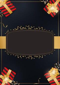 Fundo preto com presentes e lugar para texto. caixas de presente realistas com fitas de ouro e arco. vetor