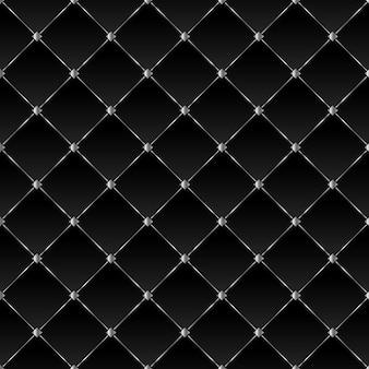 Fundo preto com quadrados prateados e linhas diagonais