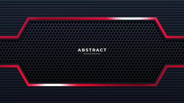 Fundo preto com tecnologia de papel de parede futurista de linha vermelha brilhante pode ser usado para panfleto de página de destino de banner de fundos. vetor.