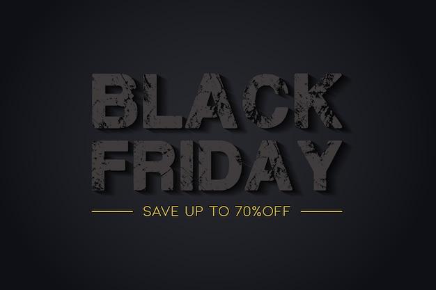 Fundo preto criativo de venda sexta-feira com um efeito de estilo de texto