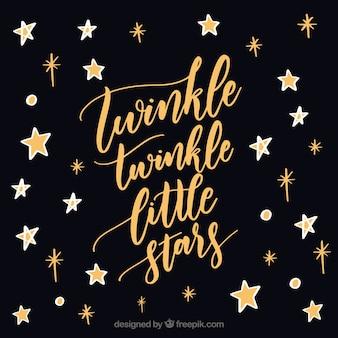 Fundo preto da estrela com letras