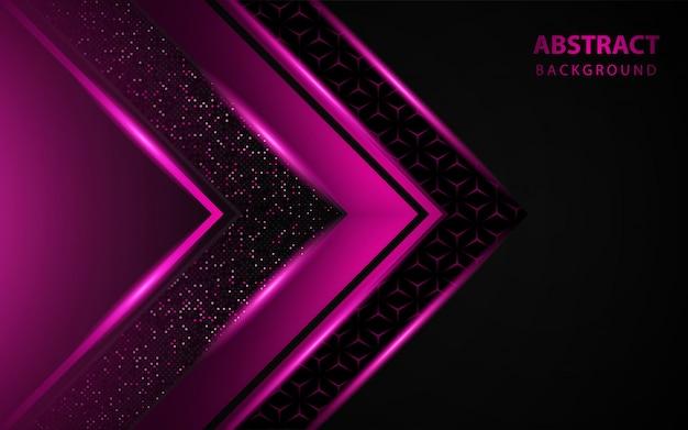 Fundo preto de luxo com decoração de brilhos rosa