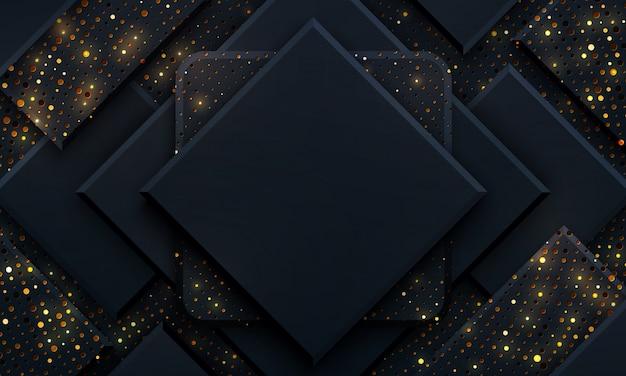 Fundo preto de luxo com uma combinação de pontos dourados brilhantes com estilo 3d.