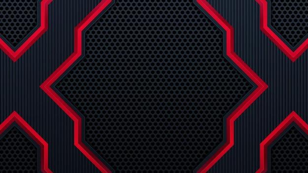 Fundo preto de tecnologia com listras vermelhas de contraste. projeto de folheto gráfico vetorial abstrato