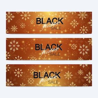Fundo preto de venda de sexta-feira. projeto de banner promocional. fundo de inverno com flocos de neve dourados. ilustração vetorial.