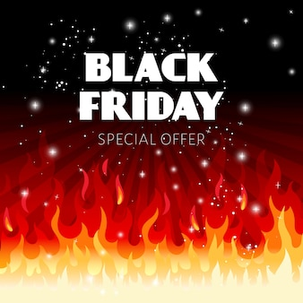 Fundo preto de venda na sexta-feira com chamas de fogo e ilustração de texto