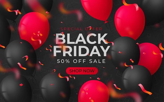 Fundo preto de venda sexta-feira com balões e serpentina