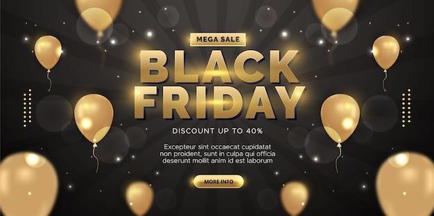 Fundo preto de venda sexta-feira com balões. ilustração premium.