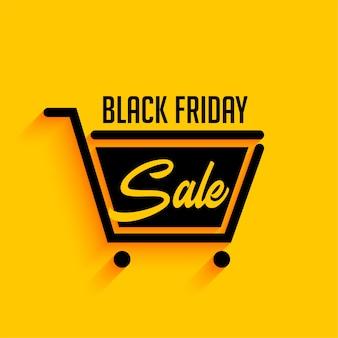 Fundo preto de venda sexta-feira com carrinho de compras