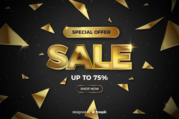 Fundo preto de vendas com detalhes dourados