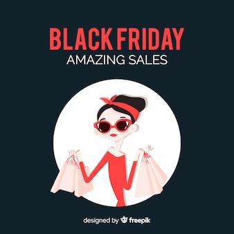 Fundo preto de vendas de sexta-feira na mão desenhada estilo
