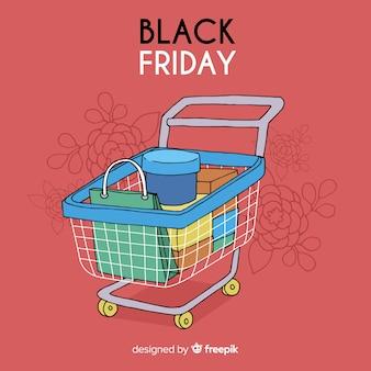 Fundo preto de vendas de sexta-feira na mão desenhado estilo com carrinho de compras
