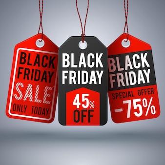 Fundo preto do vetor da compra de sexta-feira com os preços de papel da venda. rótulo de venda e ilustração de preço de oferta especial