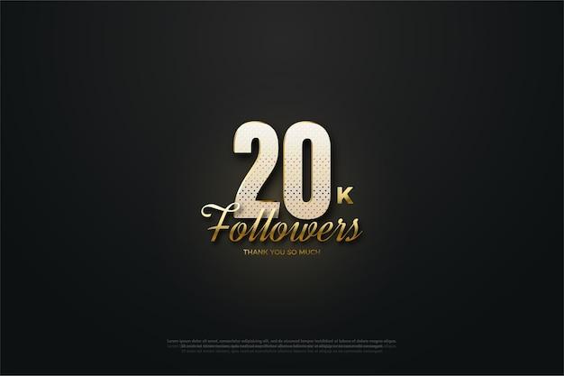 Fundo preto dourado de vinte mil seguidores
