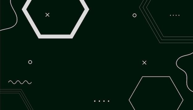 Fundo preto e branco abstrato geométrico do hexágono memphis