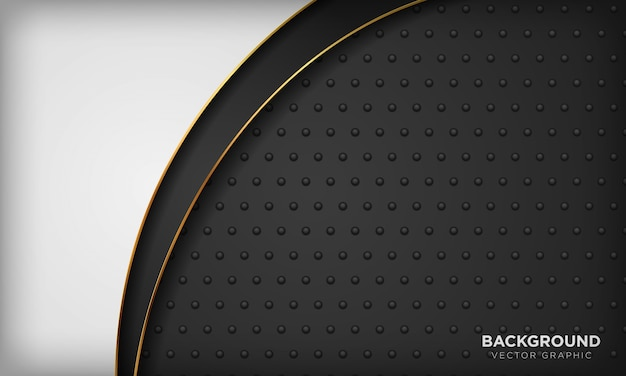 Fundo preto e branco com elemento de linha dourada na textura de metal escuro. fundo de luxo moderno.