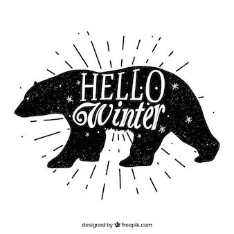Fundo preto e branco com um urso