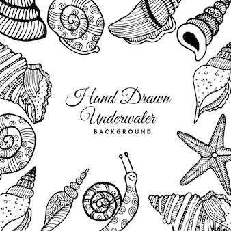 Fundo preto e branco de escudos subaquáticos desenhados a mão em preto e branco