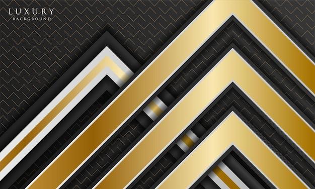 Fundo preto e branco luxuoso abstrato com forma triangular e elementos de linha dourada