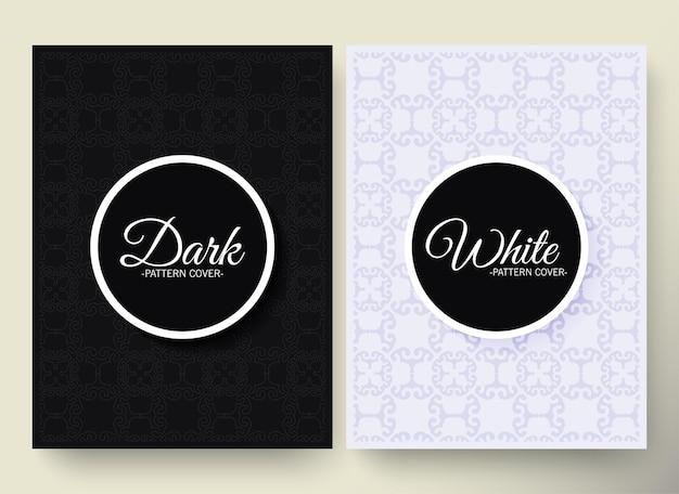 Fundo preto e branco luxuoso com padrão de borda