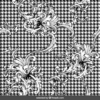 Fundo preto e branco ornamental