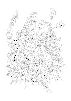 Fundo preto e branco vertical para colorir. livro para colorir de página de flores.