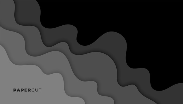 Fundo preto e cinza escuro estilo recorte de papel