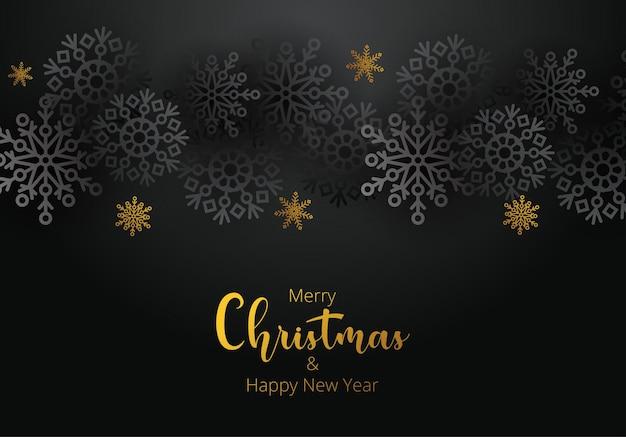 Fundo preto e dourado de natal com presentes de natal e flocos de neve. ilustração vetorial. para panfleto de design, banner, cartaz, convite. fundo de feliz natal e feliz ano novo