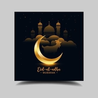 Fundo preto e dourado do festival eid al adha bakrid