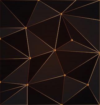 Fundo preto e ouro abstrato polígono