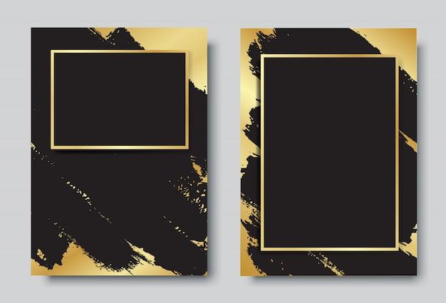 Fundo preto e ouro com conjunto de design de moldura