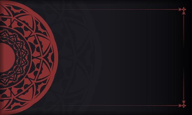 Fundo preto e vermelho com luxuosos ornamentos vintage e lugar para o seu logotipo. modelo de design de impressão de cartão postal com ornamentos gregos.