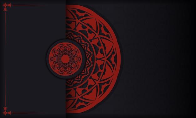 Fundo preto e vermelho com ornamentos vintage de luxo e lugar para o seu logotipo e texto. design de cartão postal com ornamentos gregos.