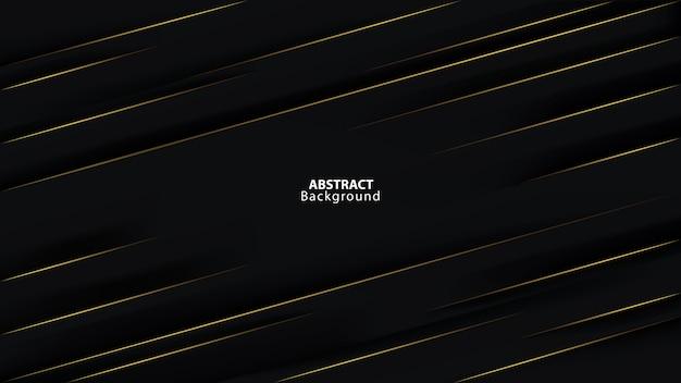 Fundo preto escuro abstrato na linha dourada