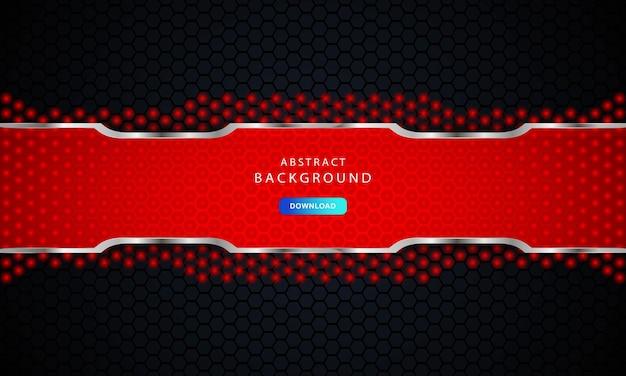 Fundo preto escuro do hexágono. textura hexagonal com decoração lista vermelha e prata.