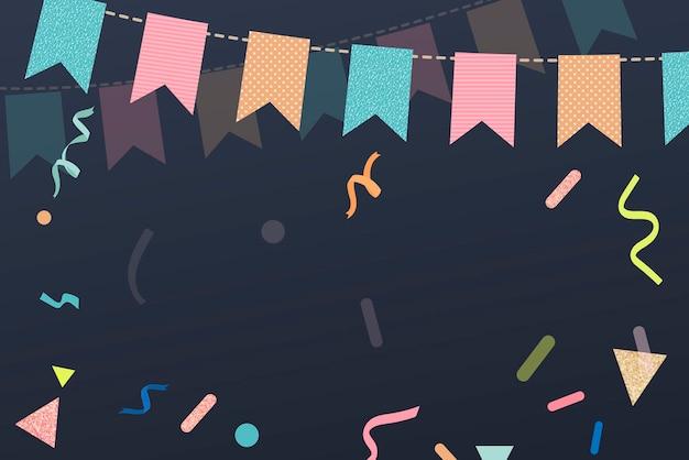 Fundo preto festivo, borda fofa de bandeirolas e vetor de fitas