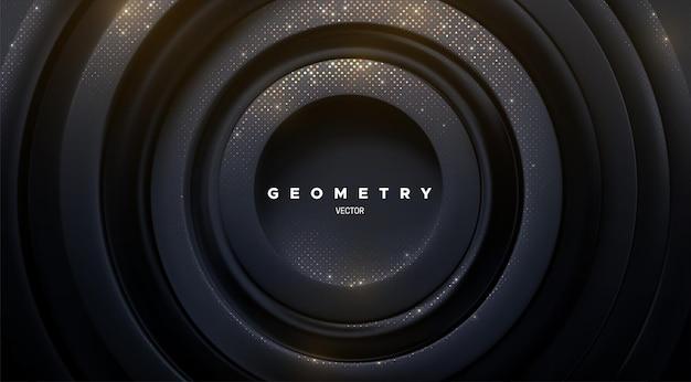 Fundo preto geométrico abstrato com brilhos dourados cintilantes