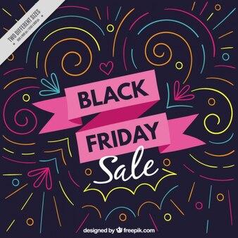 Fundo preto impressionante sexta-feira com linhas geométricas coloridas