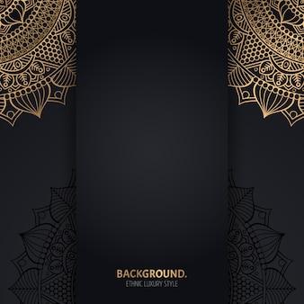 Fundo preto islâmico com círculos dourados de mandala geométrica