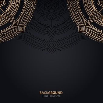 Fundo preto islâmico com decoração de mandala dourada