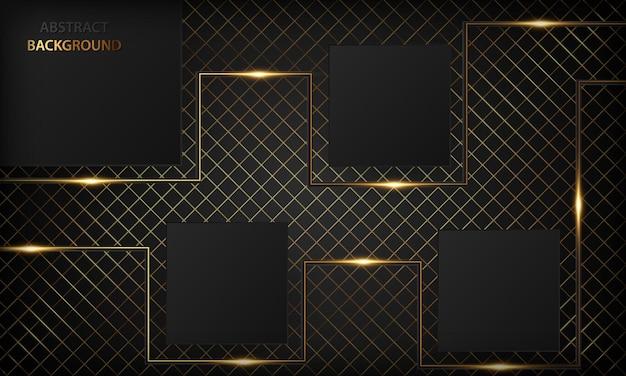 Fundo preto luxuoso com linhas douradas