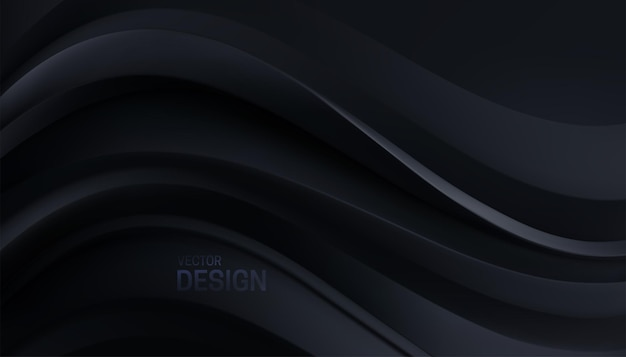 Fundo preto minimalista abstrato com formas curvas suaves