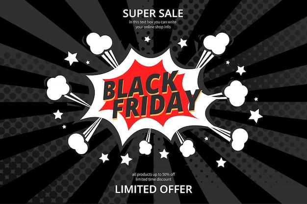 Fundo preto moderno de venda sexta-feira com estilo cômico