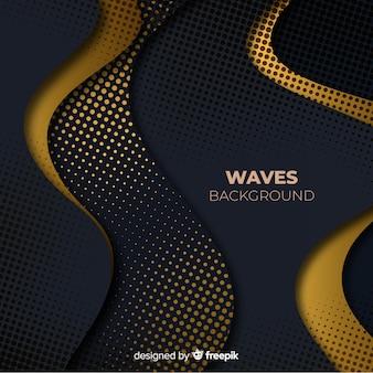 Fundo preto ondas com efeito de meio-tom