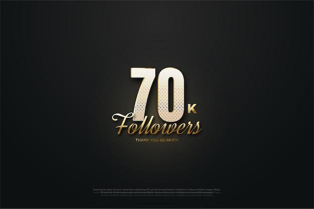 Fundo preto para 70 mil seguidores com números e escrita 3d