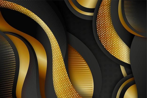 Fundo preto realista com texturas douradas