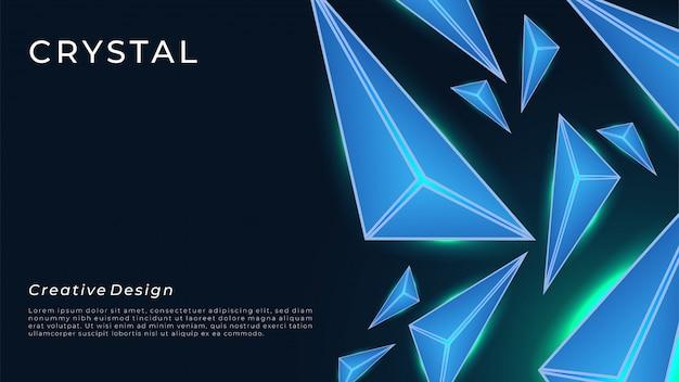 Fundo preto realitic com luz de neon e cristal, brilha no escuro.